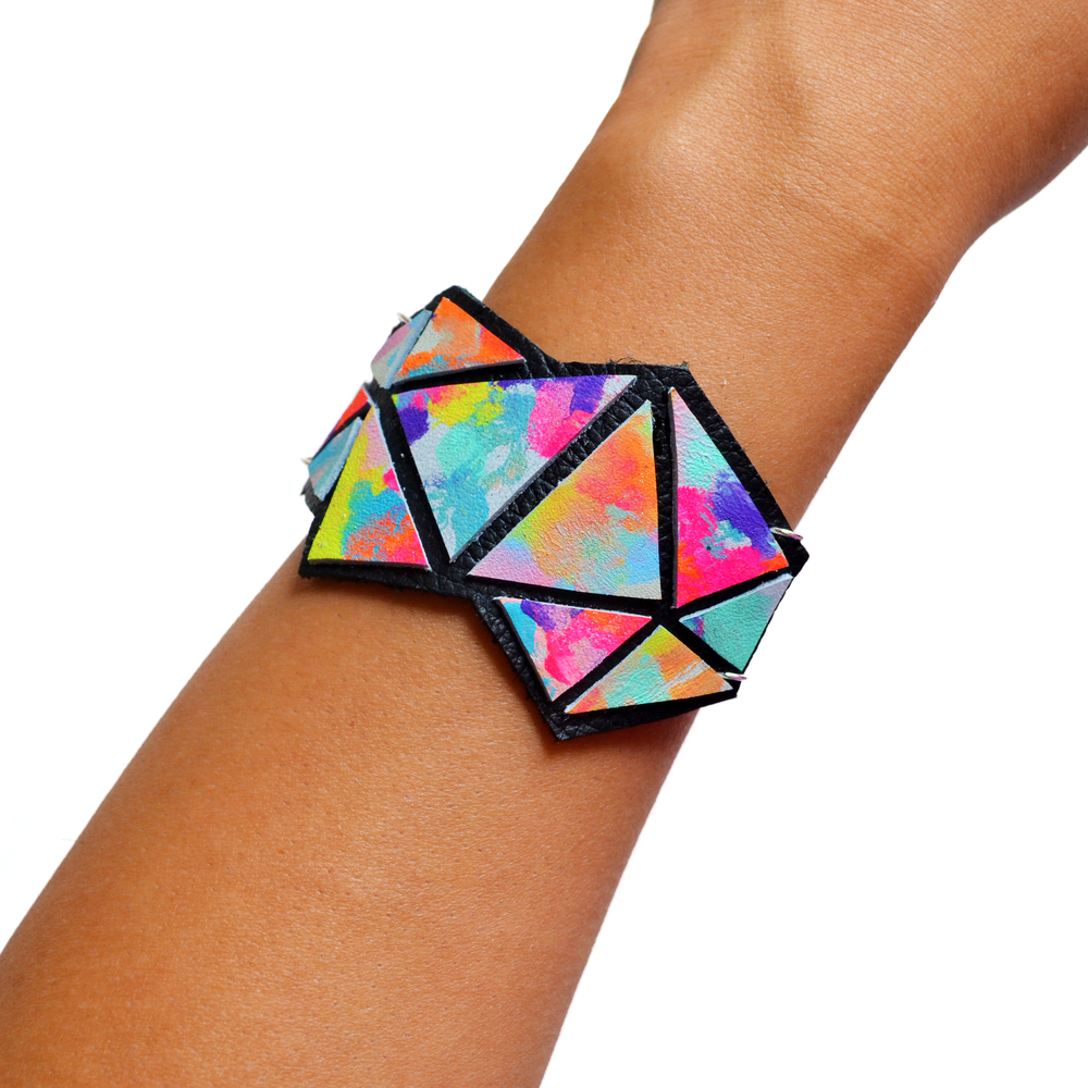 Geometric Leather Bracelet