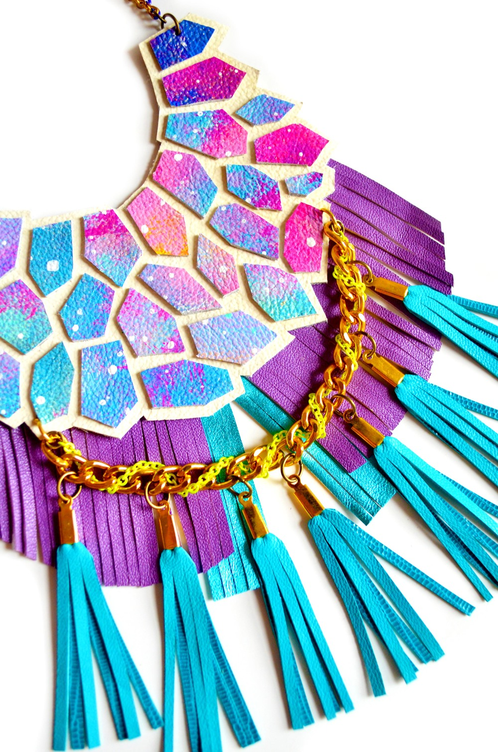 Turquoise Statement Necklace, Neon Woven Chain, Nebula Geometric Hexagon Fringe, Galaxy Leather Jewelry 7.jpg