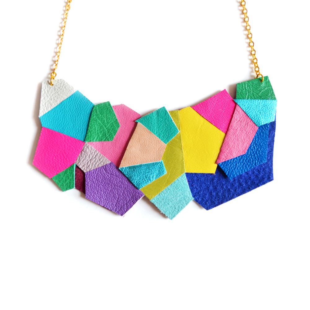 Neon Bib Necklace Faceted Polygon Leather Jewelry Geometric Necklace 5.jpg