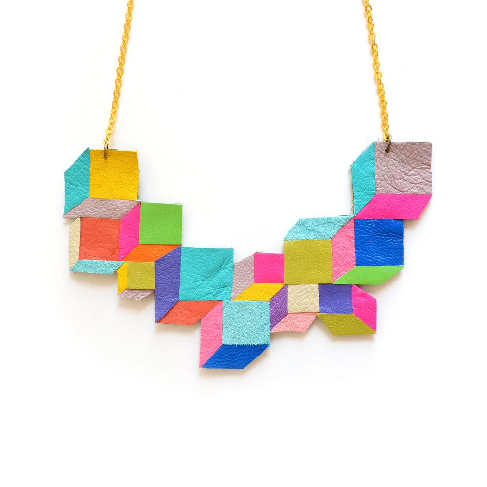 Geometric Leather Bib Necklace Neon Color Block Cubes and Squares 2.jpg