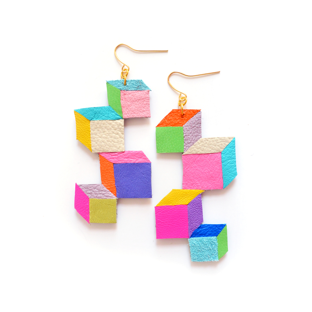 Neon Geometric Leather Earrings Color Block Cubes 2.jpg