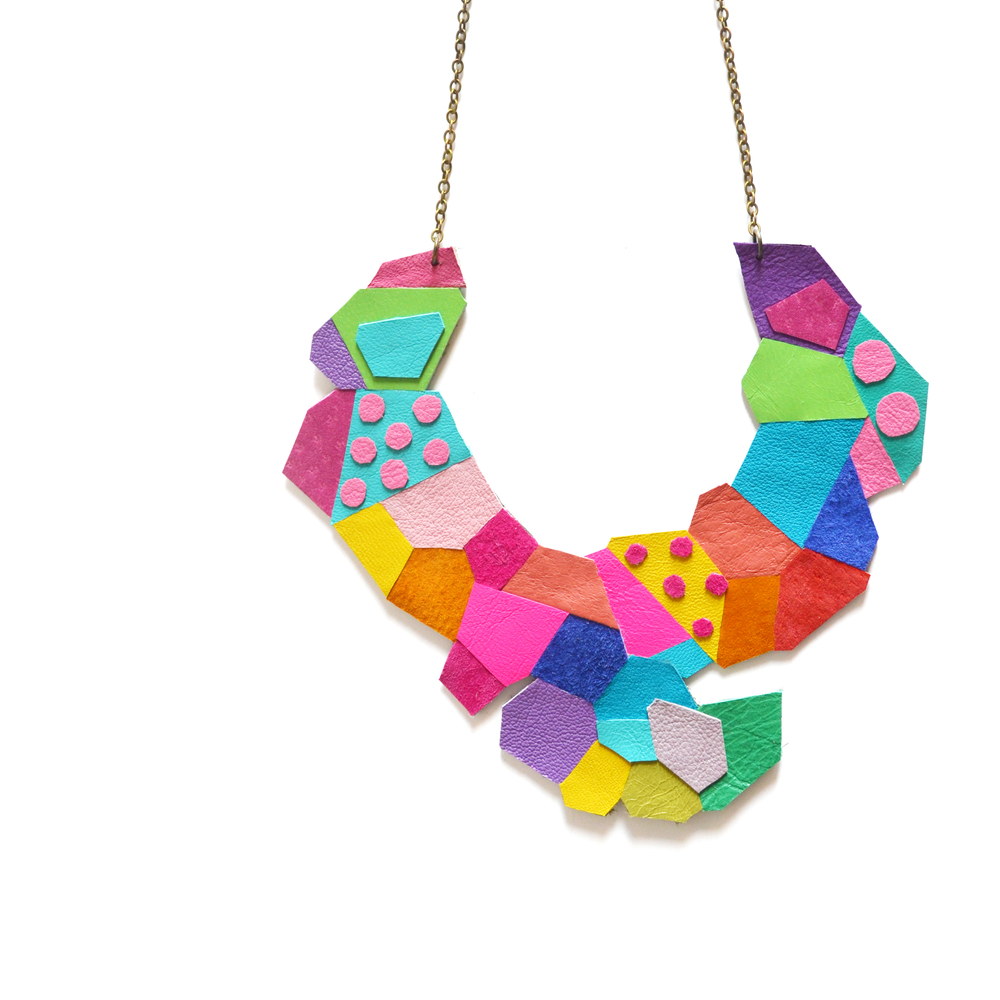 Neon Bib Necklace Polka Dot Polygon Faceted Leather Jewelry Geometric Necklace 3.jpg