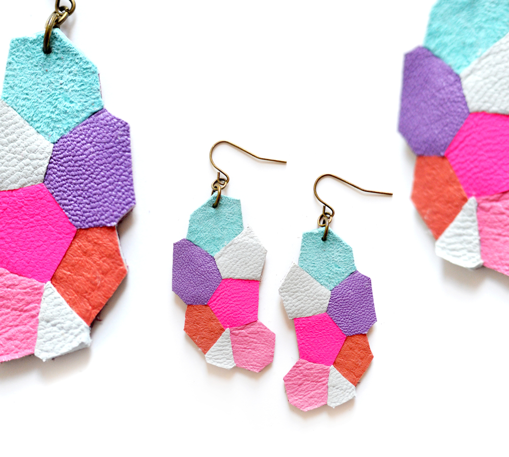 Neon Leather Earrings Color Block Hexagon Mosaic Pattern Kaleidoscope 5.jpg