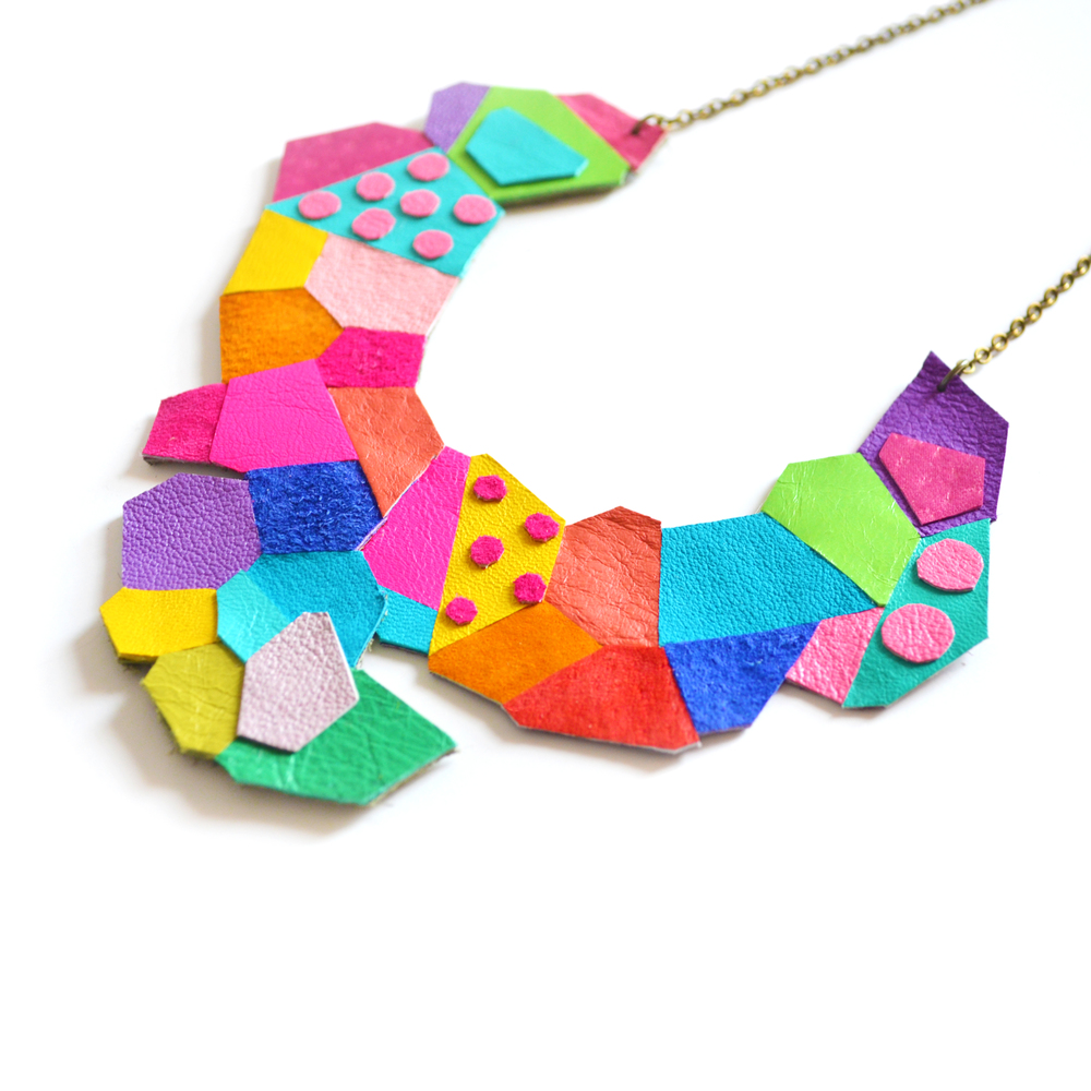 Neon Bib Necklace Polka Dot Polygon Faceted Leather Jewelry Geometric Necklace 5.jpg