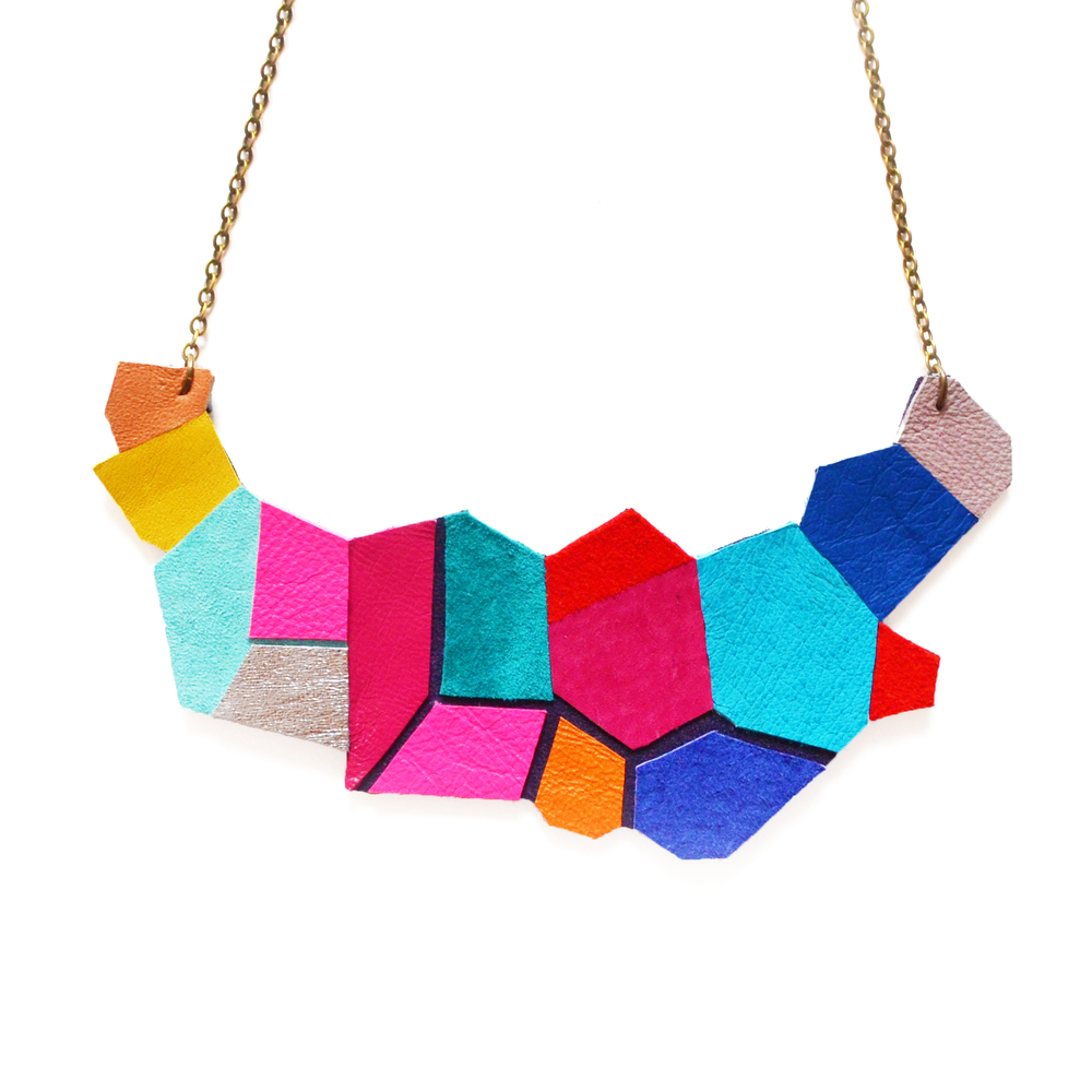 Neon Leather Bib Necklace Geometric Polygon Faceted Necklace 11.jpg