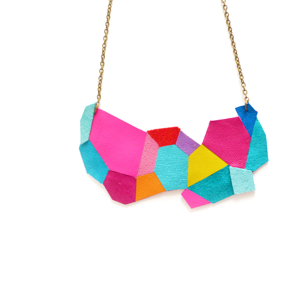 Neon Leather Bib Necklace Geometric Polygon Faceted Necklace 16.jpg