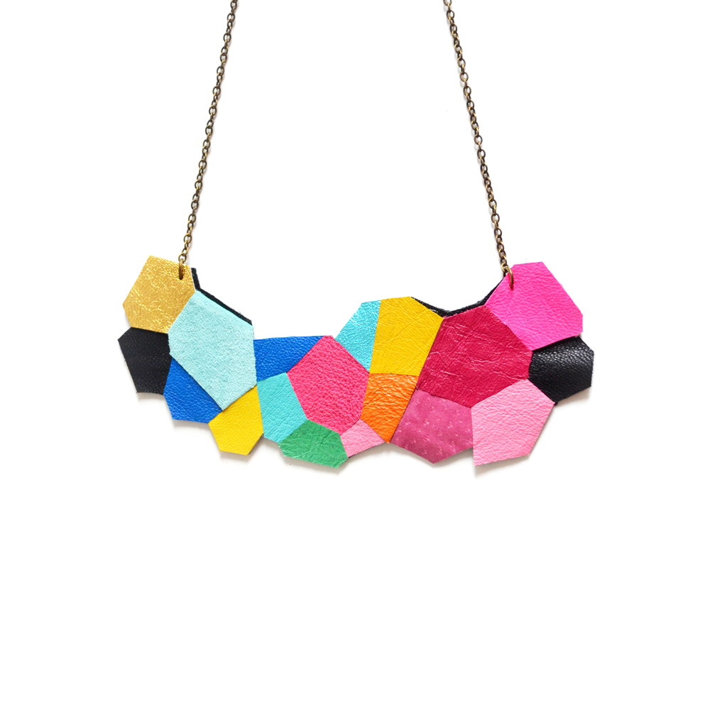 Neon Statement Necklace Geometric Polygon Faceted Statement Jewelry b.jpg
