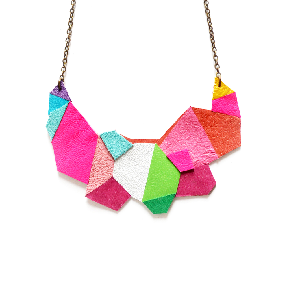 Neon Leather Bib Necklace Geometric Polygon Faceted Necklace new 2.jpg