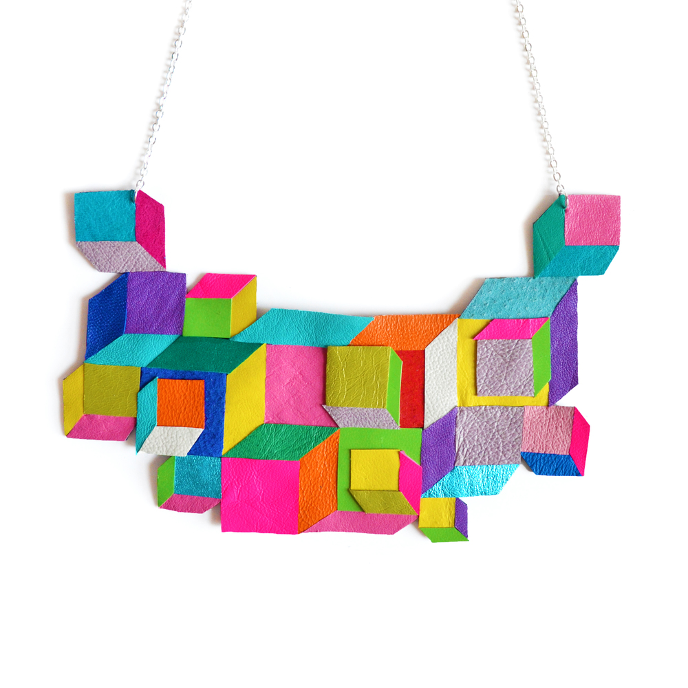 Cube Geometric Necklace, Escher Squares, Neon Rainbow Modern Jewelry 2.jpg