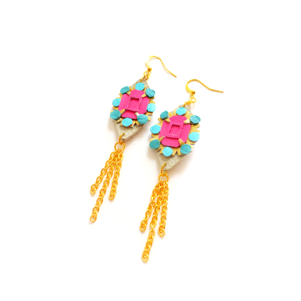 Neon Leather Earrings Faux Rhinestones Dangle Gold Chain Tassel Statement Earrings 3.jpg