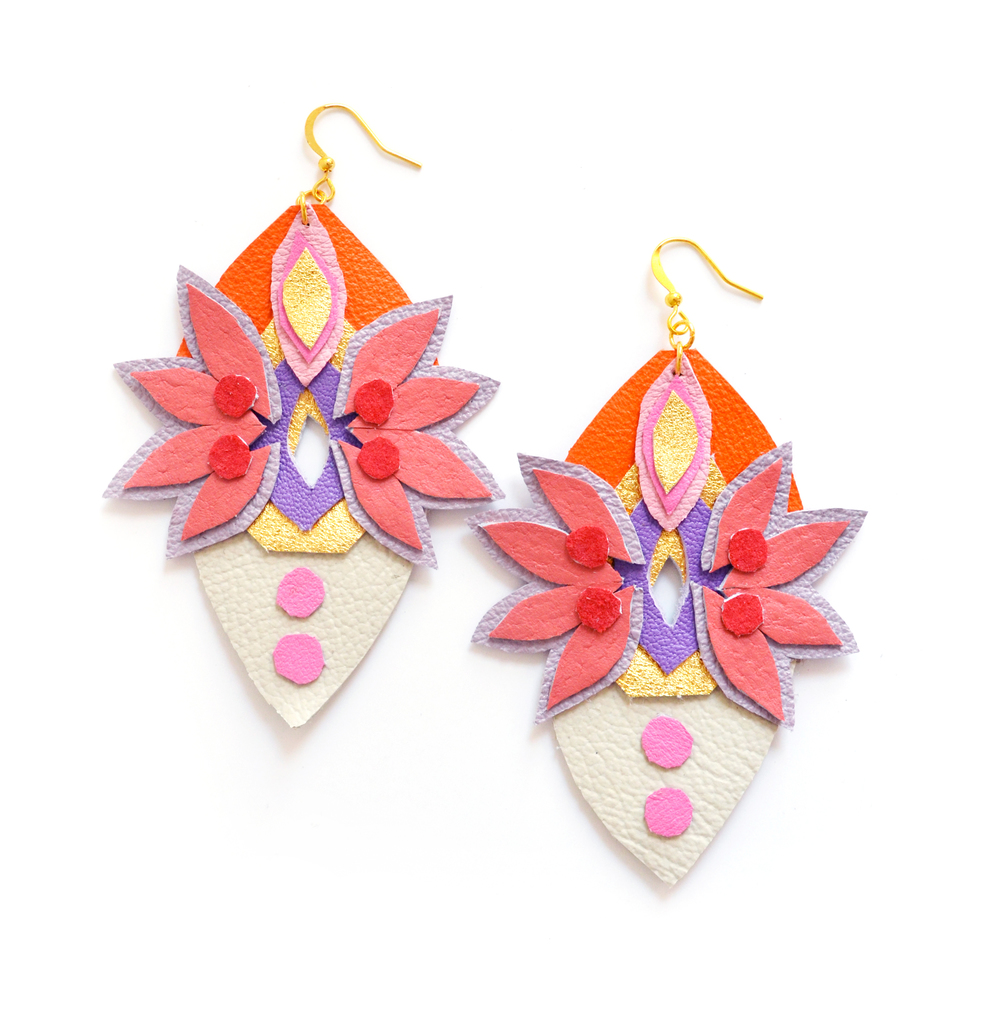 Geometric Leather Earrings Neon Suede Rhinestone Gems and Spikes 2.jpg