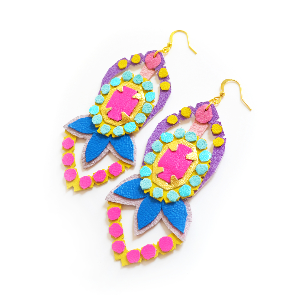Neon Leather Earrings Faux Rhinestone Polka Dot Gems 3.jpg