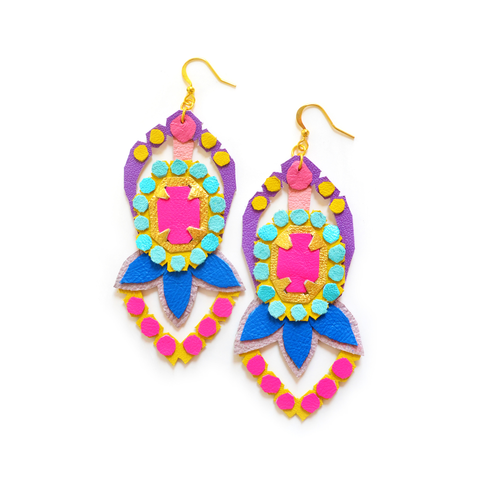 Neon Leather Earrings Faux Rhinestone Polka Dot Gems 2.jpg