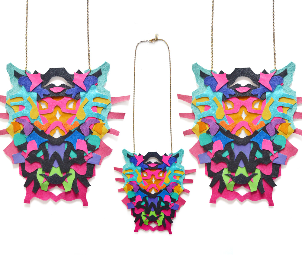 Neon Statement Necklace Leather Color Block Geometric Ink Blot Leather Statement Jewelry collage 3.jpg