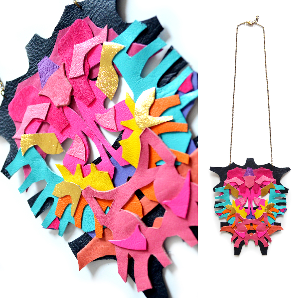 Neon Statement Necklace Leather Color Block Geometric Rorschach Leather Statement Jewelry 9.jpg