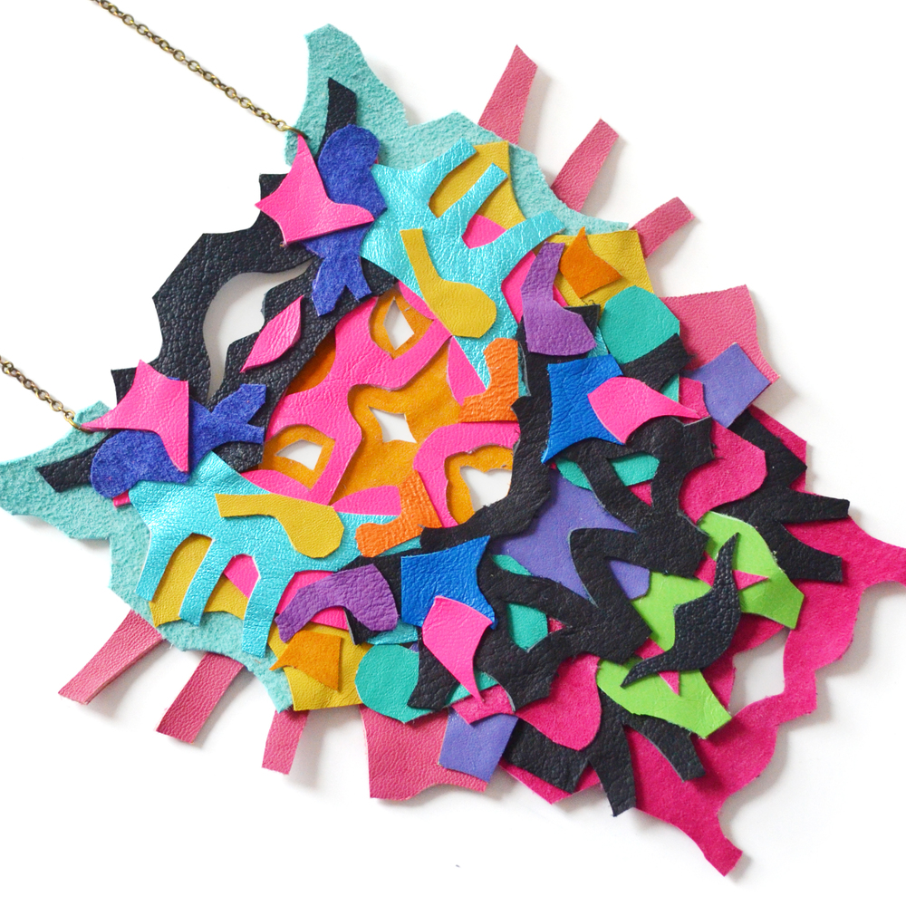 Neon Statement Necklace Leather Color Block Geometric Ink Blot Leather Statement Jewelry 5.jpg