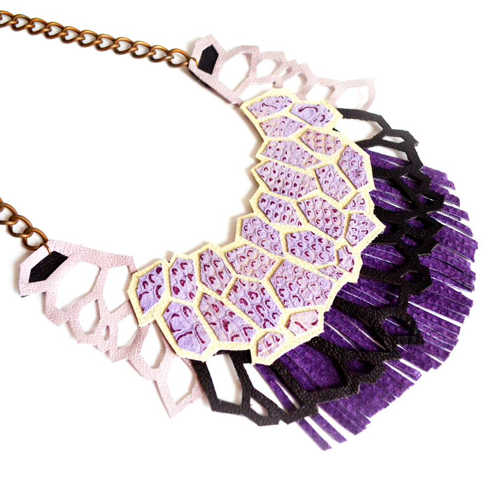 Amethyst Statement Necklace Geometric Hexagons and Feathers Chunky Leather Statement Jewelry d.jpg