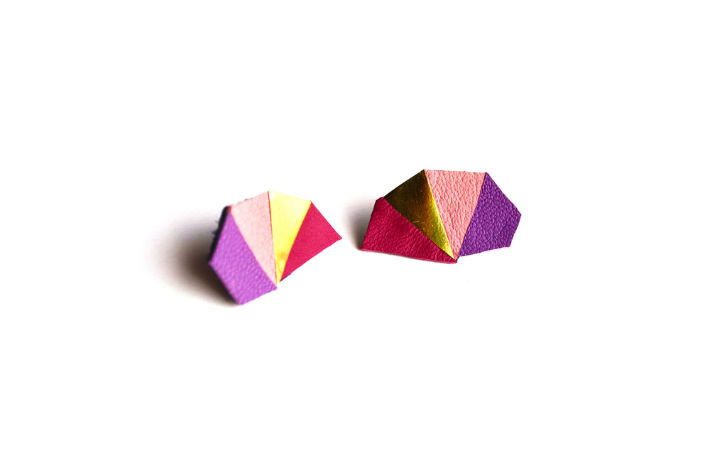 Geometric Leather Earrings Mini Triangle Pink and Purple 2.jpg