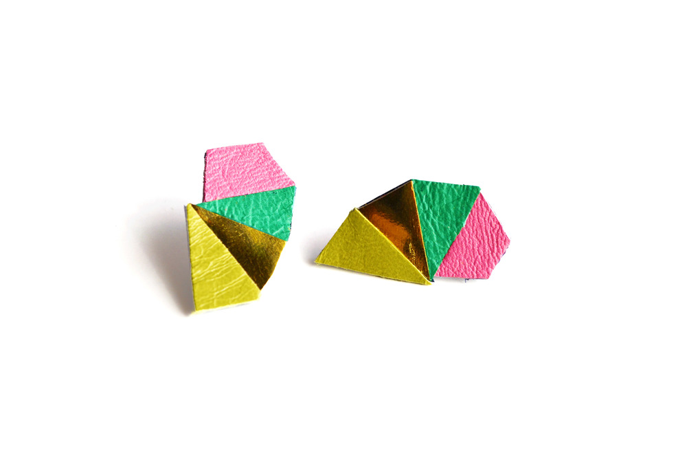 Geometric Leather Earrings Mini Triangle Green and Pink 3.jpg