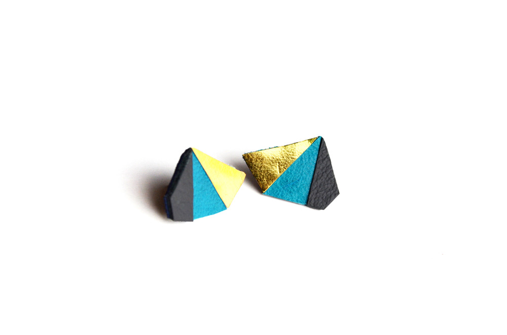 Geometric Leather Earrings Mini Triangle Blue and Gold 3.jpg