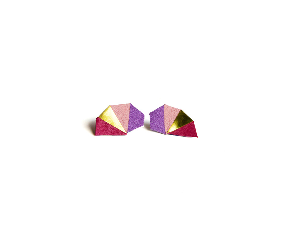Geometric Leather Earrings Mini Triangle Pink and Purple.jpg