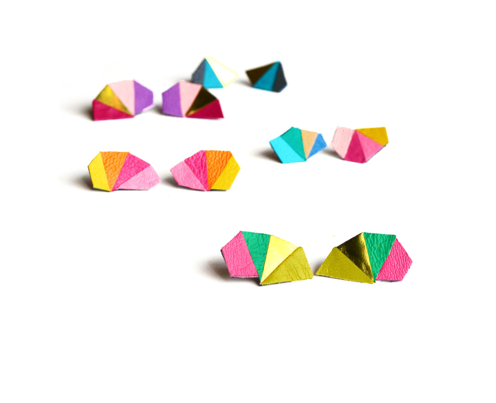 Geometric Leather Earrings Mini Triangle Green and Pink.jpg