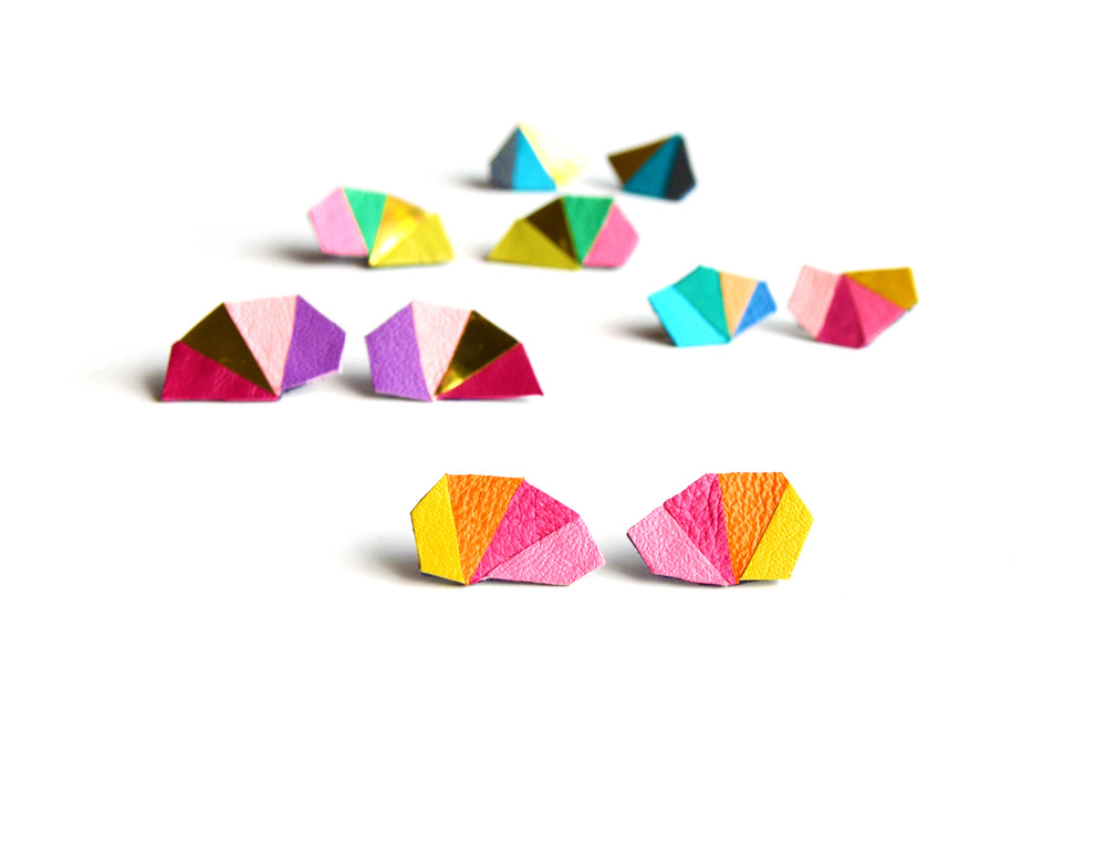 Geometric Leather Earrings Mini Triangle Pink and Orange 2.jpg