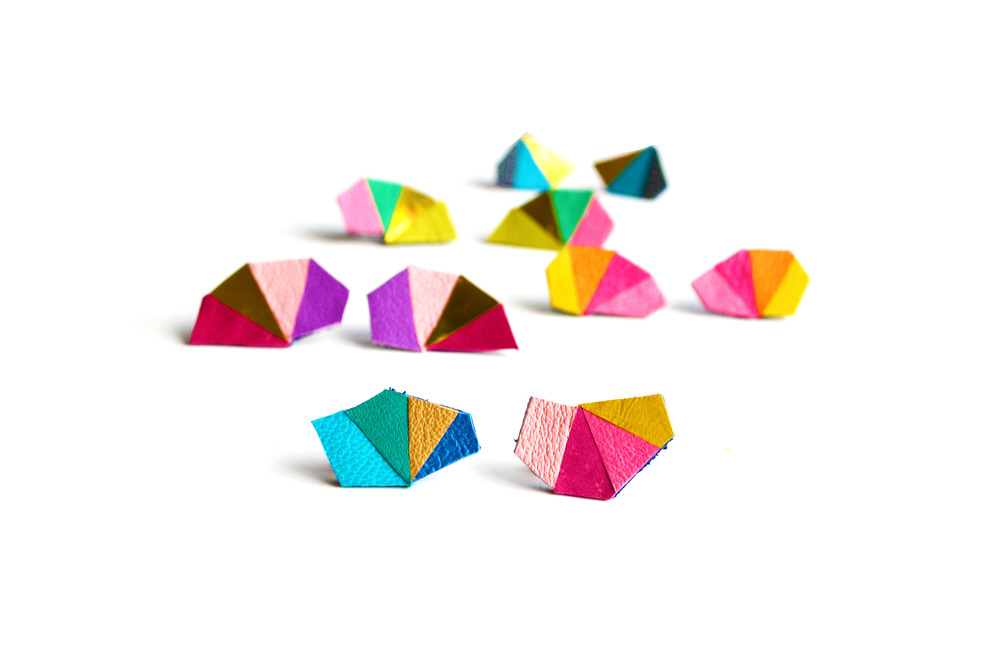 Geometric Leather Earrings Mini Triangle Color Rainbow 2.jpg
