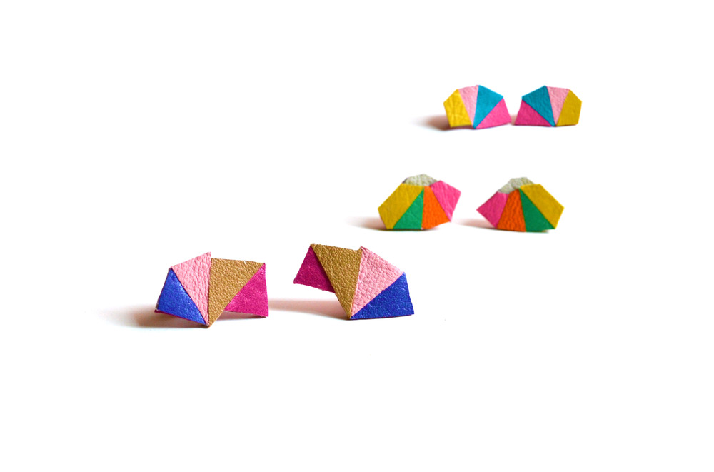 Geometric Leather Earrings Mini Triangle Color Block 5.jpg