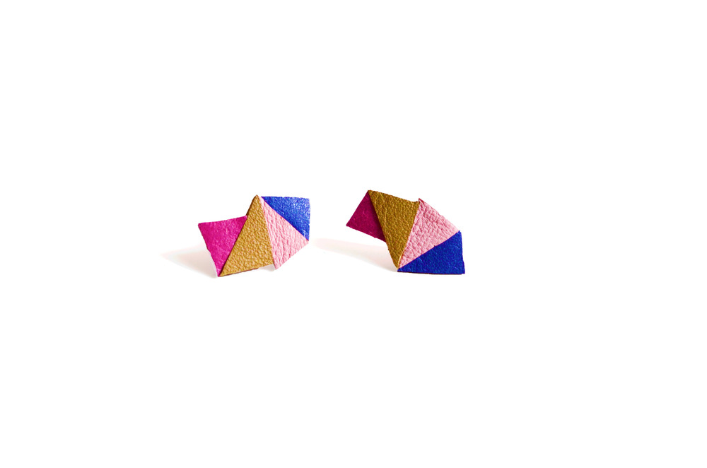 Geometric Leather Earrings Mini Triangle Color Block.jpg