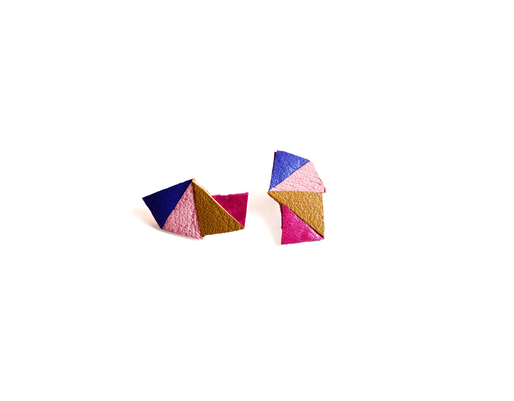 Geometric Leather Earrings Mini Triangle Color Block 2.jpg