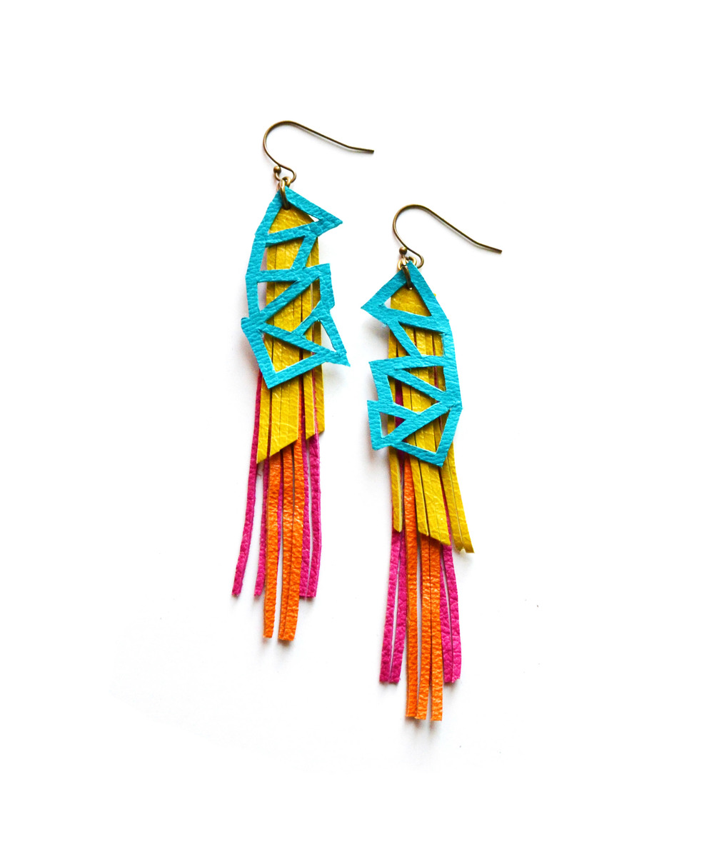Geometric Leather Earrings Teal Triangles and Fringe.jpg