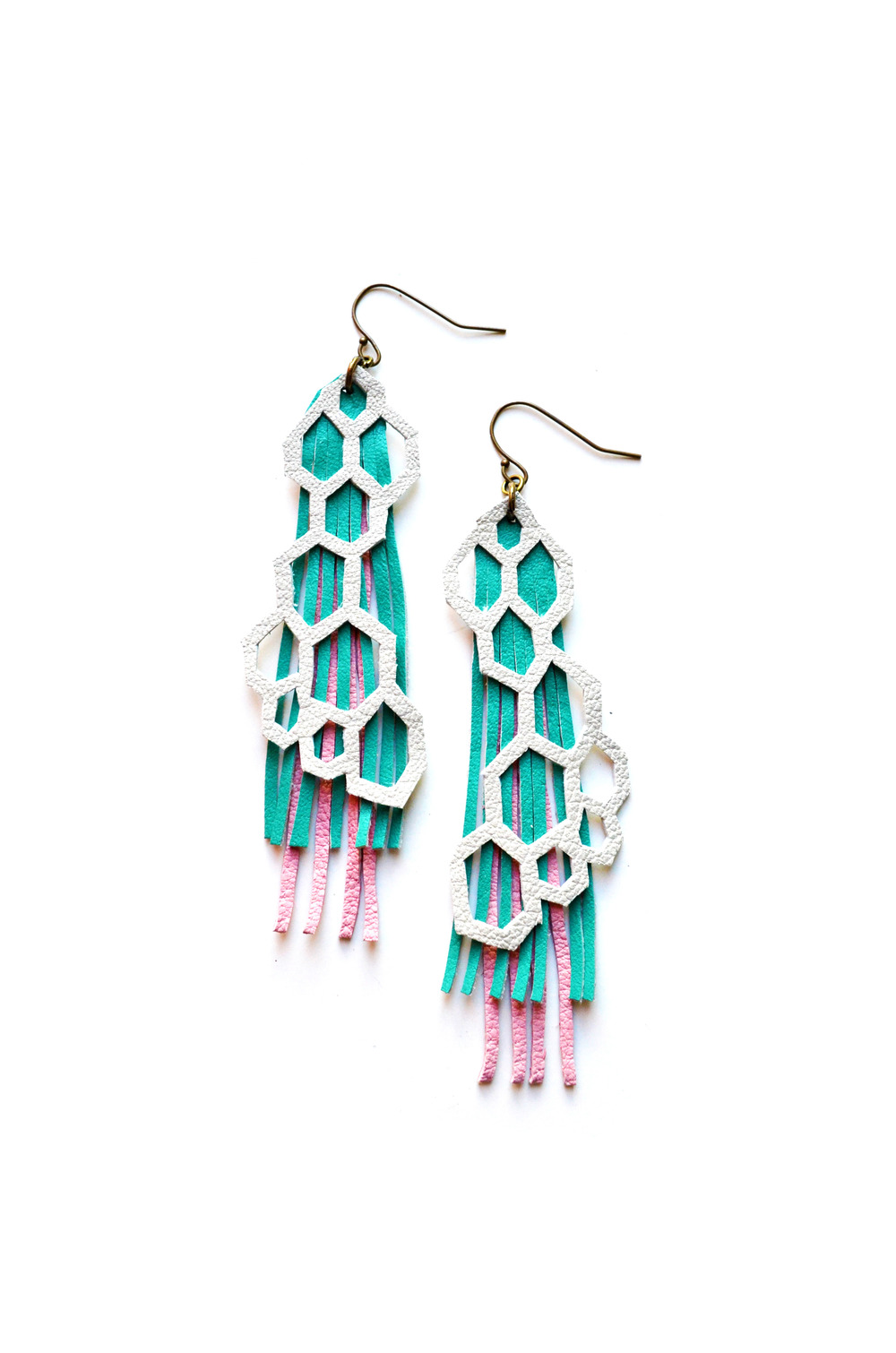 Geometric Leather Earrings Hexagons and Pastel Fringe 3.jpg