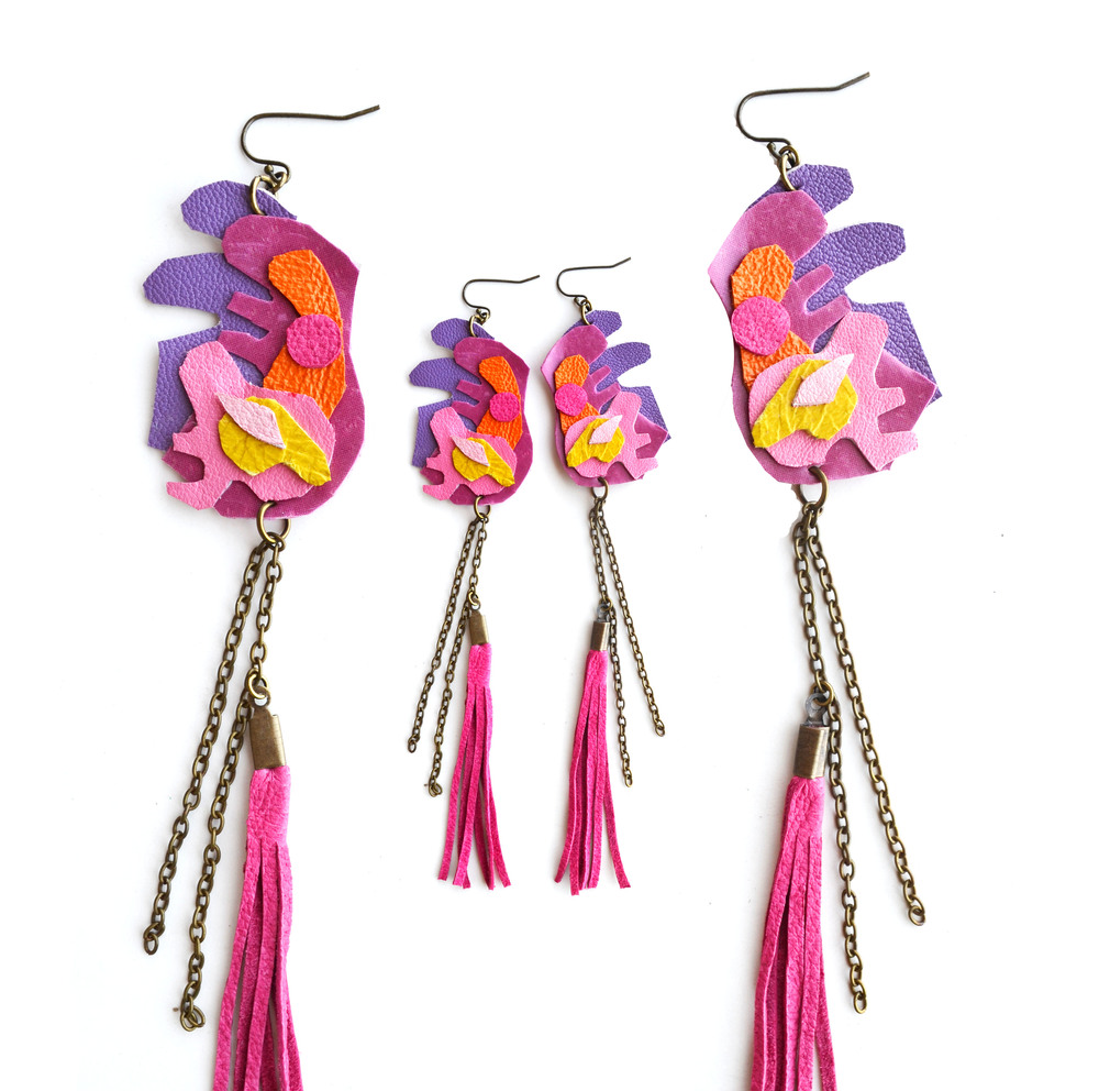 Neon Geometric Earrings Pink Tribal Ink Blot 3.jpg