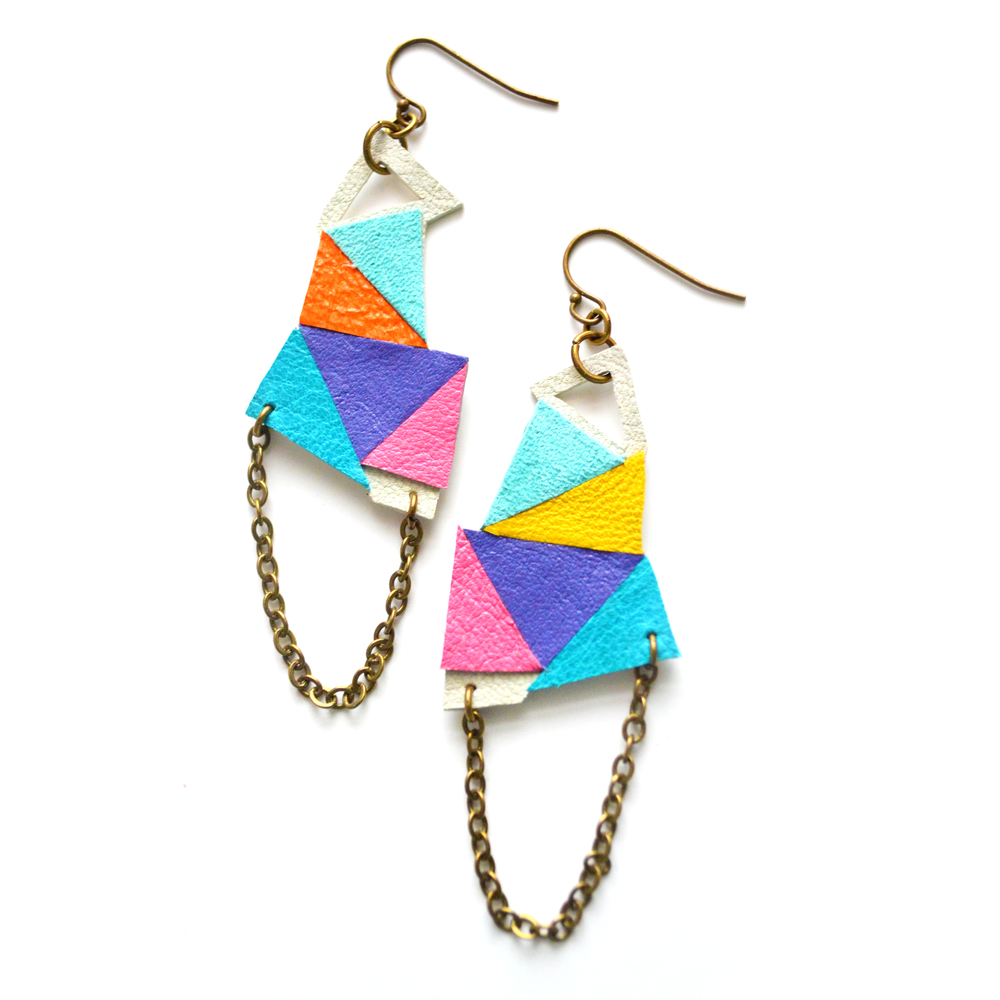 Triangle Leather Earrings Geometric Kaleidoscope Facets and Chain 2.jpg