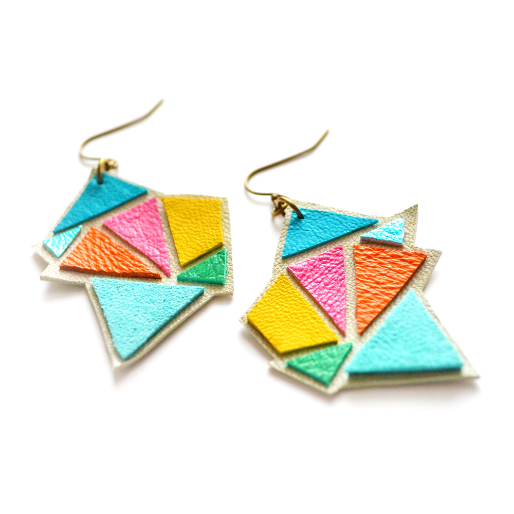 Triangle Leather Earrings Geometric Kaleidoscope Facets 3.jpg