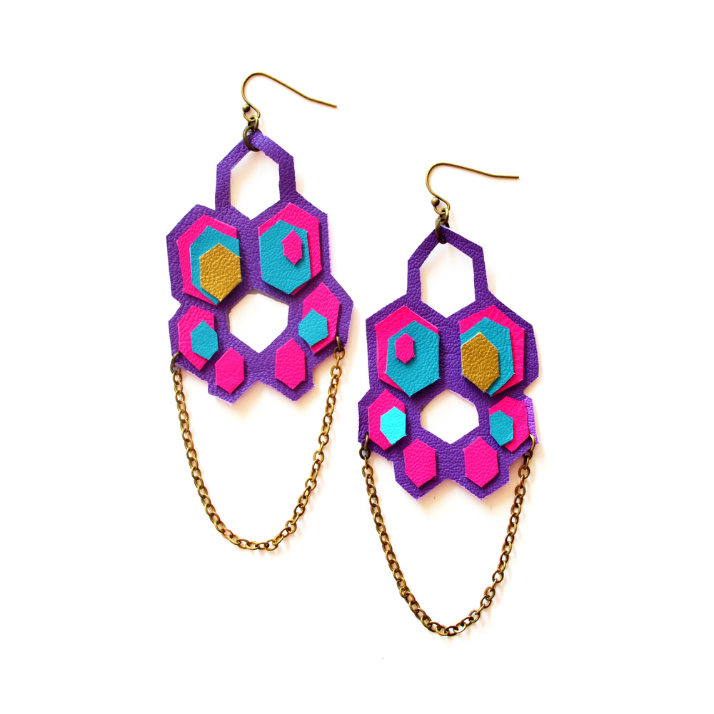 Leather Earrings Neon Hexagons Honey Combs.jpg