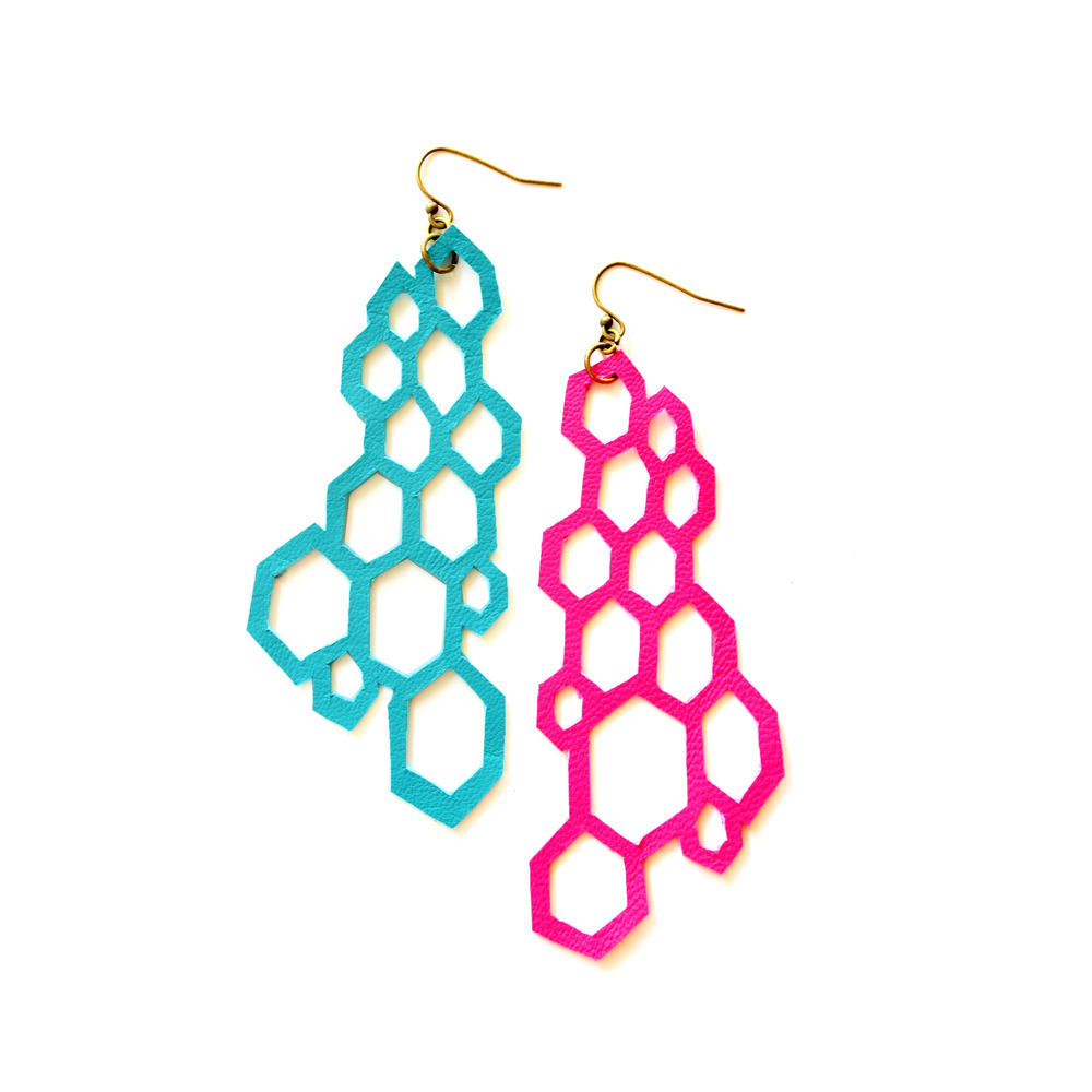 Leather Earrings Neon Modern Hexagons.jpg