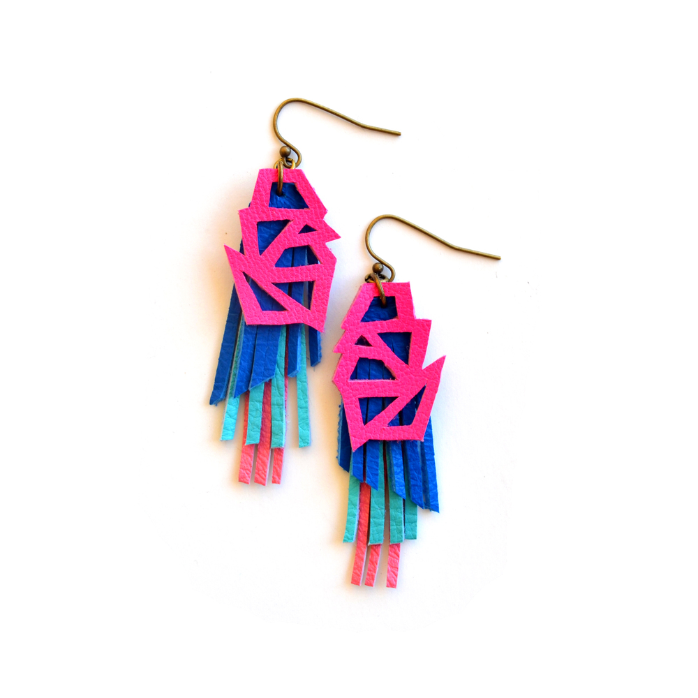 Neon Leather Earrings Triangle Mini Color Block and Fringe.jpg