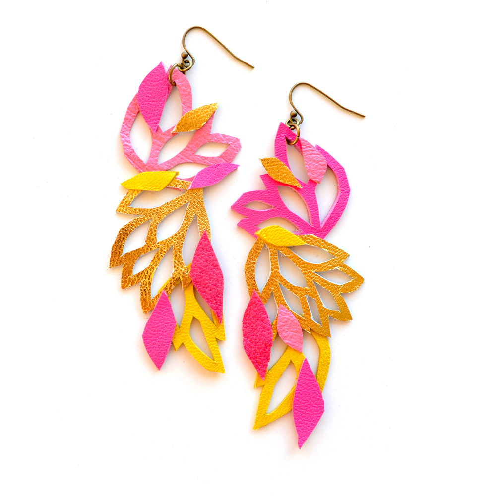 Neon Leather Earrings Geometric Flowers and Leaves Color Block 5.jpg