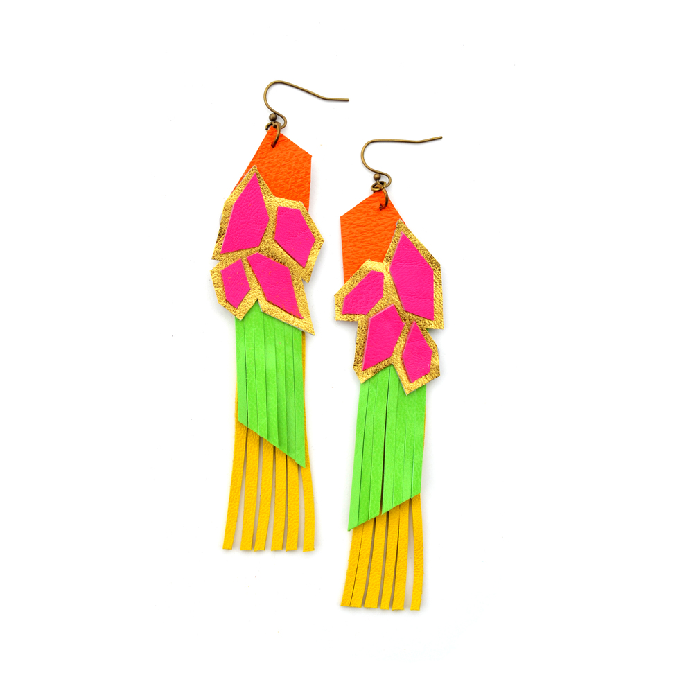 Geometric Leather Earrings Neon Fringe Color Block 3.jpg