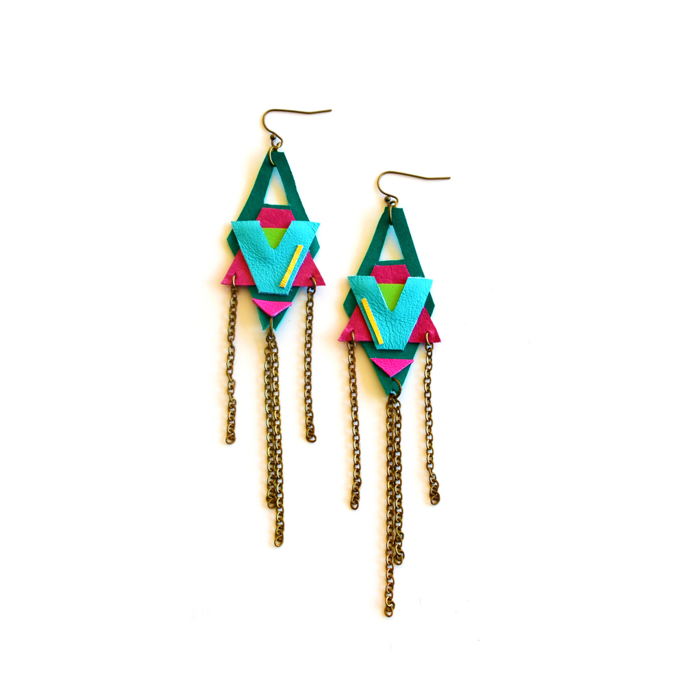 Neon Leather Earrings Color Block Tribal Motiffs.jpg