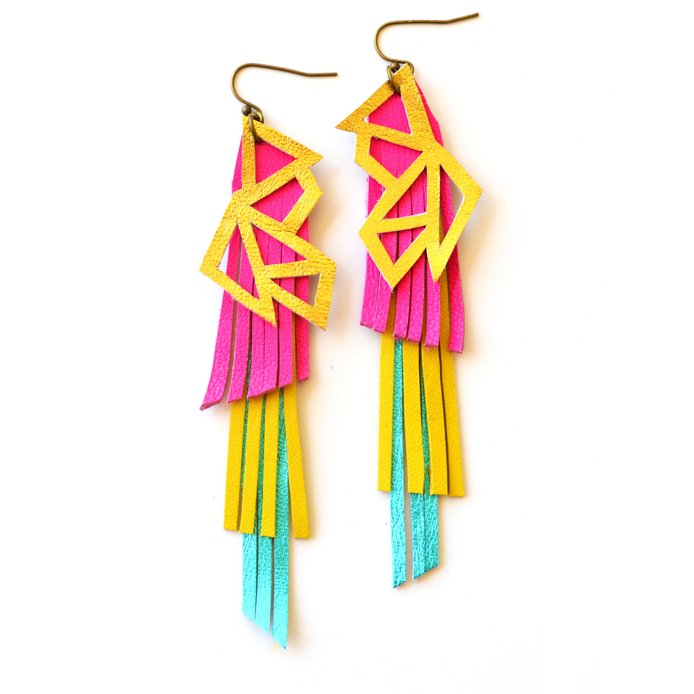 Neon Leather Earrings Strawberry Sundae Metallic Fringe 2.jpg