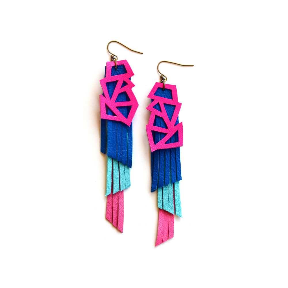 Neon Leather Earrings Triangle Color Block and Fringe.jpg