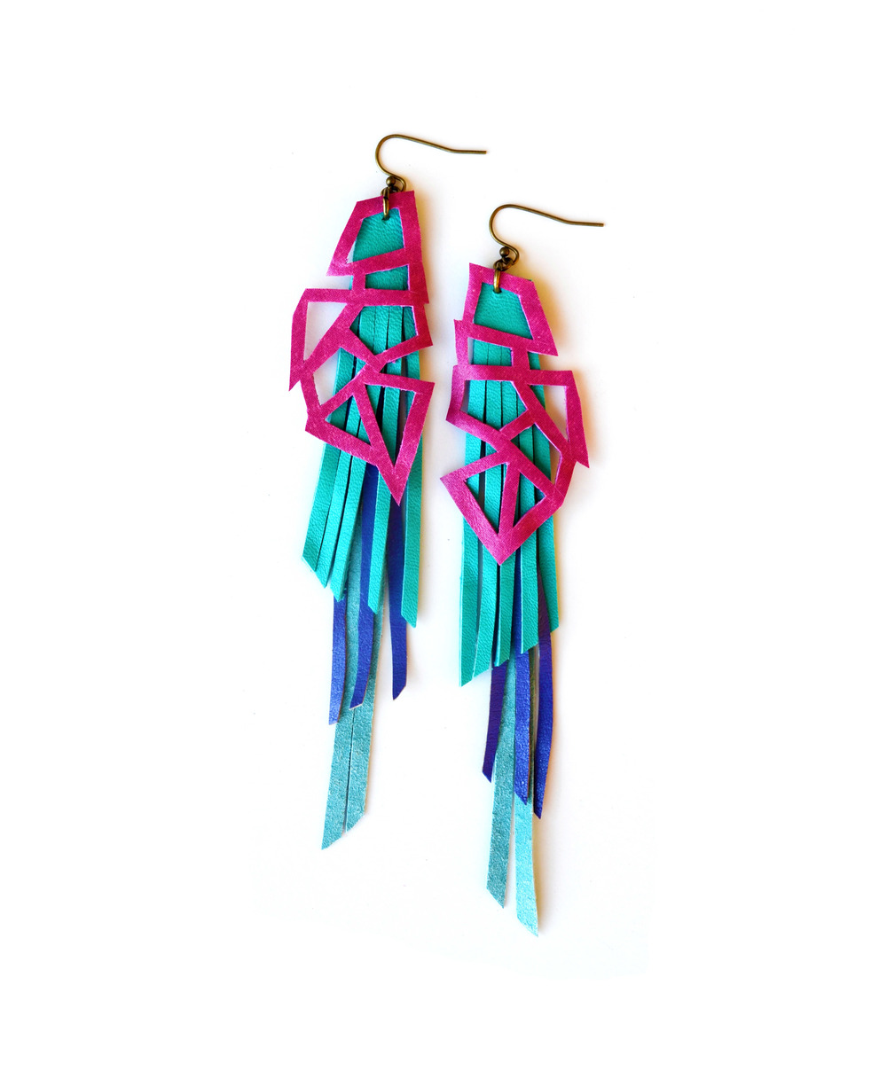 Geometric Earrings Neon Leather Triangles and Teal Fringe 5.jpg