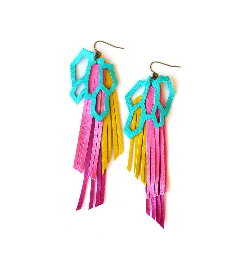 Leather Earrings Geometric Hexagons and Fringe 5.jpg