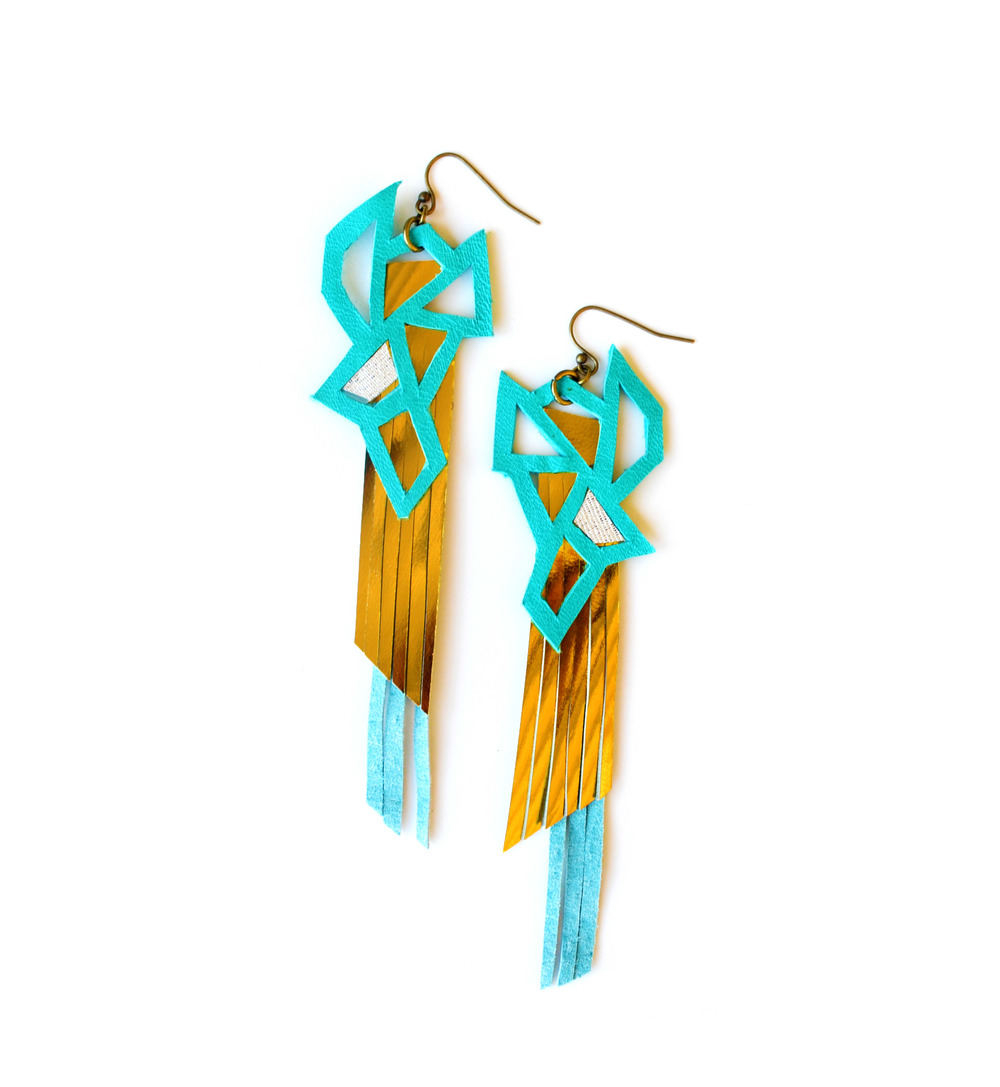 Metallic Fringe Leather Earrings Teal Triangles.jpg