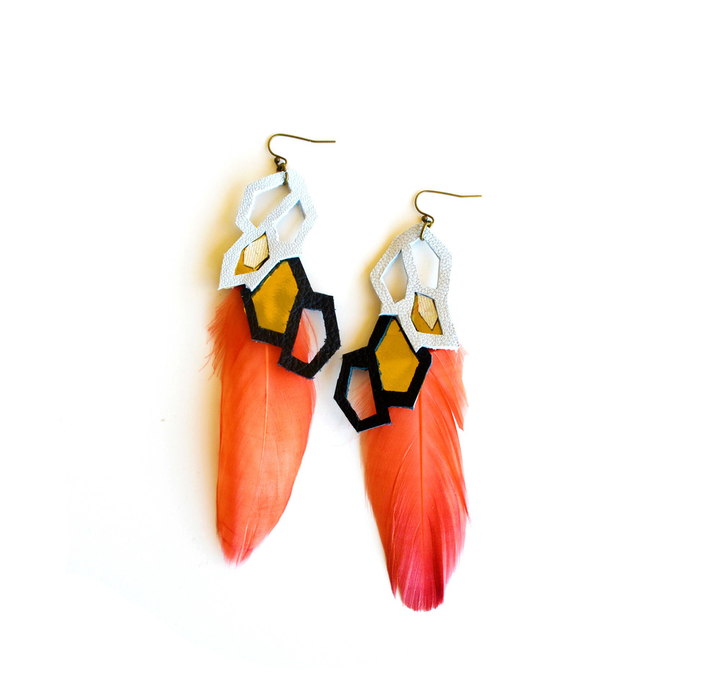 Metallic Earrings Geometric Hexagons and Feathers.jpg