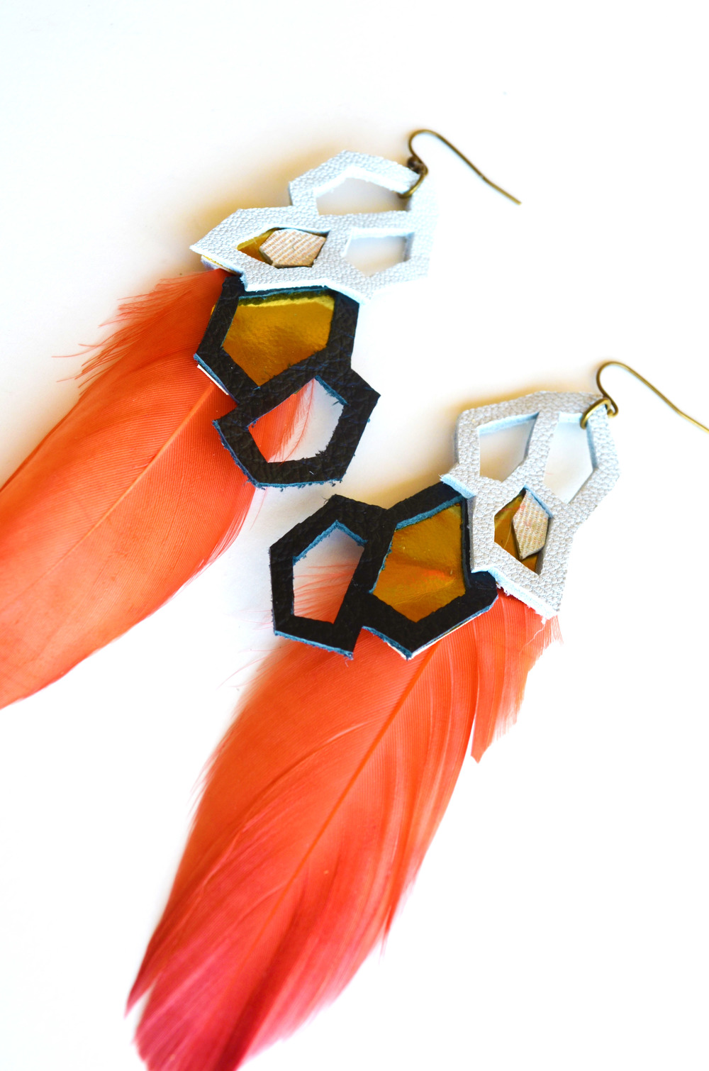 Metallic Earrings Geometric Hexagons and Feathers 2.jpg