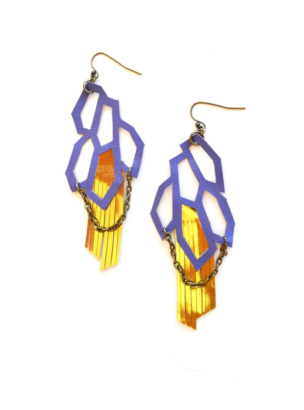 Geometric Leather Earrings Purple Hexagon and Gold Fringe 3.jpg